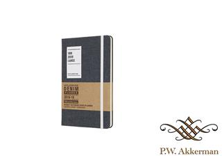 Moleskine agenda 18 maands 2018-2019 weekly/note large hardcover Denim