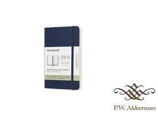 Moleskine agenda 18 maands 2018-2019 weekly/note pocket softcover blauw