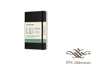 Moleskine agenda 18 maands weekly/note pocket softcover zwart 2018-2019