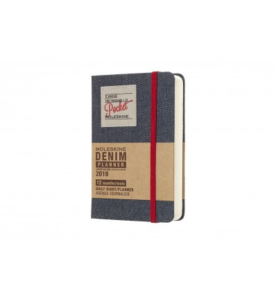 Moleskine agenda 2019 1 dag p.p. pocket denim
