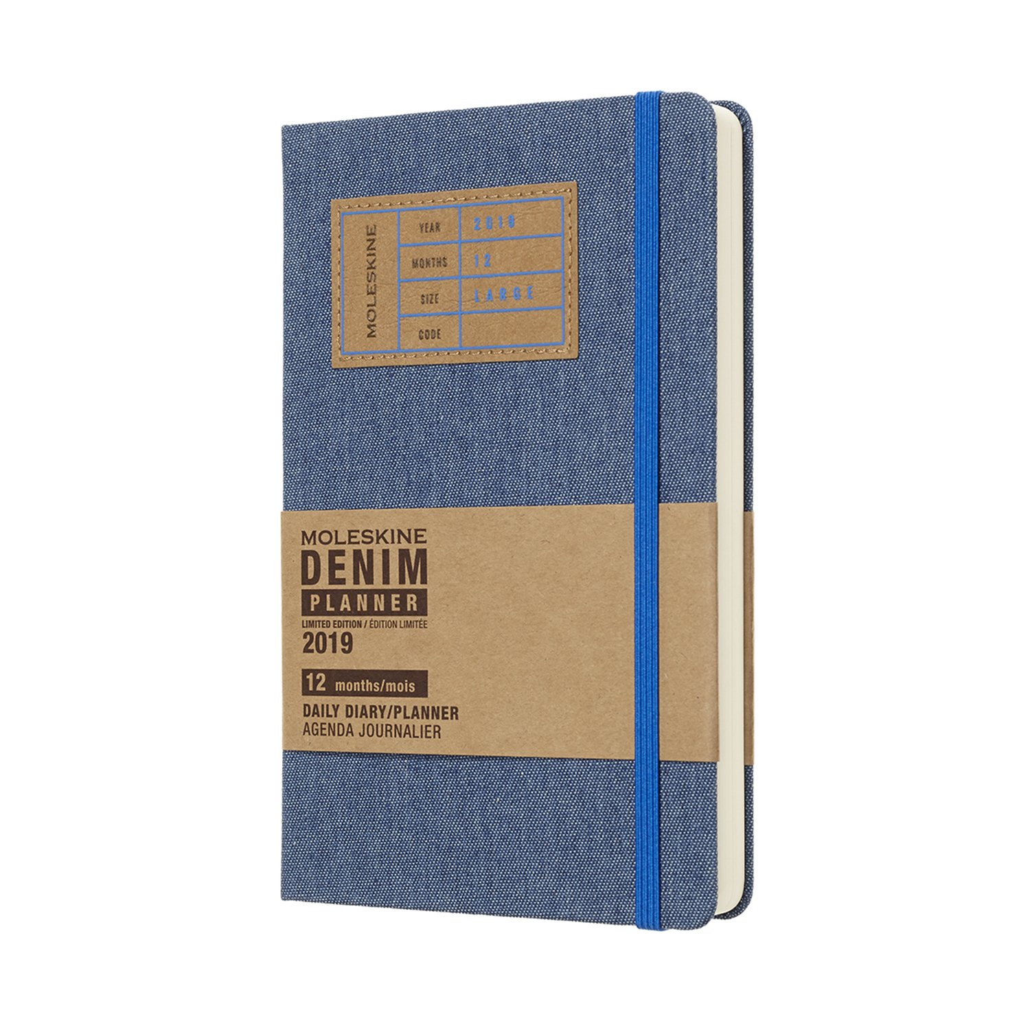 Moleskine agenda 2019 weekly/note large hardcover denim