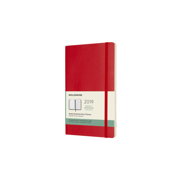 Moleskine agenda 2019 weekly/note large softcover rood