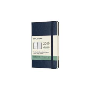 Moleskine agenda 2019 weekly/note pocket softcover donkerblauw